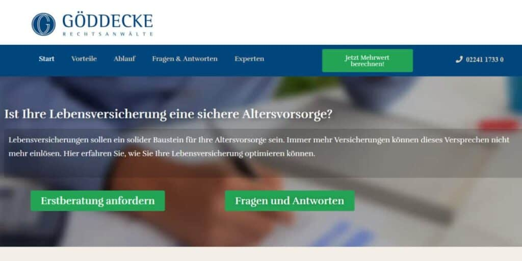 Lebensversicherungen widerrufen Themenseite Göddecke Rechtsanwälte